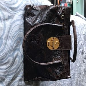 Etro tooled leather bag with metal clasp